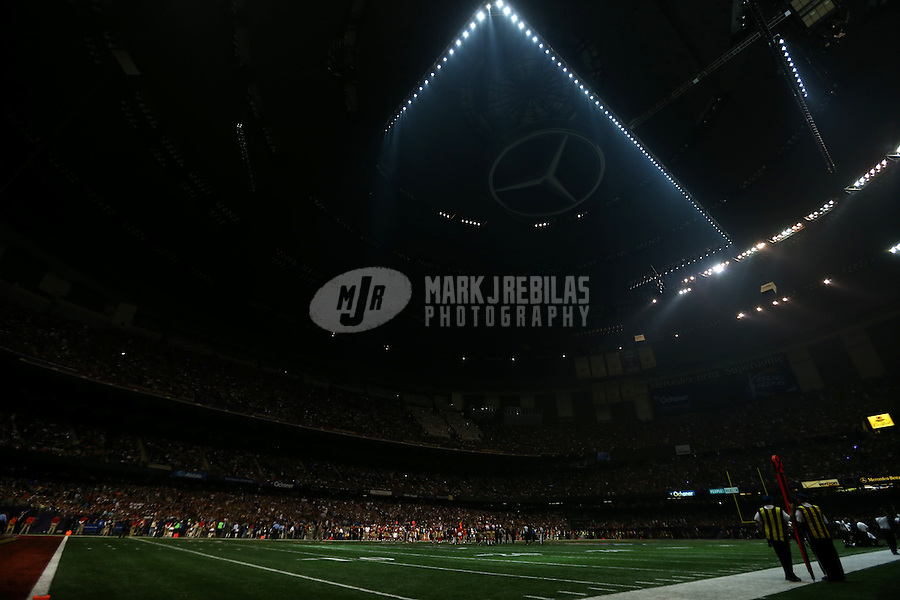 Feb 3, 2013; New Orleans, LA, USA; A general view as the power goes out in the third quarter during Super Bowl XLVII between the San Francisco 49ers and the Baltimore Ravens at the Mercedes-Benz Superdome.  Mandatory Credit: Mark J. Rebilas-