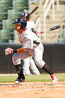 Rougned Odor #2 of the Hickory Crawdads follows through on his swing against the Kannapolis Intimidators at CMC-Northeast Stadium on April 8, 2012 in Kannapolis, North Carolina.  The Intimidators defeated the Crawdads 12-11.  (Brian Westerholt/Four Seam Images)
