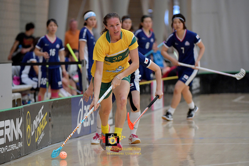 Australia's Carolyn Margetts in action during the World Floorball Championships 2017 Qualification for Asia Oceania Region Final - Australia v Japan at ASB Sports Centre , Wellington, New Zealand on Sunday 5 February 2017.<br /> Photo by Masanori Udagawa<br /> www.photowellington.photoshelter.com.