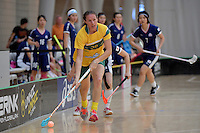 Australia&rsquo;s Carolyn Margetts in action during the World Floorball Championships 2017 Qualification for Asia Oceania Region Final - Australia v Japan at ASB Sports Centre , Wellington, New Zealand on Sunday 5 February 2017.<br /> Photo by Masanori Udagawa<br /> www.photowellington.photoshelter.com.