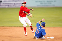 August 28, 2009:  Second Baseman Devin Goodwin of the Batavia Muckdogs turns a double play during a game at Dwyer Stadium in Batavia, NY.  The Muckdogs are the Short-Season Class-A affiliate of the St. Louis Cardinals.  Photo By Mike Janes/Four Seam Images