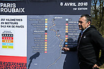 Race Director Thierry Gouvenou ASO with a map of the course at the Trouee d'Arenberg during the reconaissance of the pave sectors before the 2018 Paris-Roubaix. 3rd April 2018.<br /> Picture: ASO/P.Ballet | Cyclefile<br /> <br /> <br /> All photos usage must carry mandatory copyright credit (&copy; Cyclefile | ASO/Pauline Ballet)