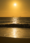 Yachts sailing at Sunrise. Zenith Beach, Shoal Bay, Port Stephens, NSW, Australia