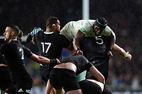 Maro Itoje of England competes against New Zealand forwards for the ball. Quilter International match between England and New Zealand on November 10, 2018 at Twickenham Stadium in London, England. Photo by: Patrick Khachfe / Onside Images