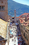 Old Town Promenade and Bell Tower view in Dubrovnik, Croatia