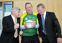Legends of Kerry Football, Mick O'Dwyer, Mick Galwey and Miceal O'Muircheartaigh enjoy some light banter ahead of  at an evening honouring the sporting legends by the Kerry Institute of Technology in Tralee who are celebrating their 30th anniversary in the Kerry town.  The trio answered questions from a packed auditorium at the IT Tralee on Thursday night.<br /> Picture by Don MacMonagle
