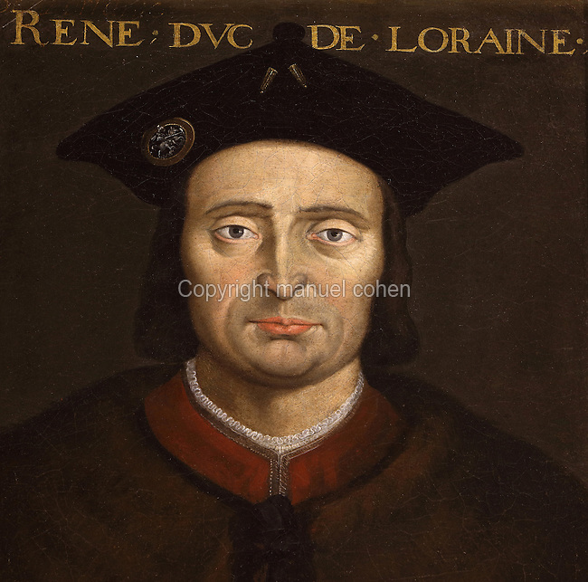 Portrait of Rene of Anjou, Duke of Lorraine, in the Galerie des Illustres or Gallery of Portraits, early 17th century, in the Chateau de Beauregard, a Renaissance chateau in the Loire Valley, built c. 1545 under Jean du Thiers and further developed after 1617 by Paul Ardier, Comptroller of Wars and Treasurer, in Cellettes, Loir-et-Cher, Centre, France. The Gallery of Portraits is a 26m long room with lapis lazuli ceiling, Delftware tiled floor and decorated with 327 portraits of important European figures living 1328-1643, in the times of Henri III, Henri IV and Louis XIII. The chateau is listed as a historic monument. Picture by Manuel Cohen