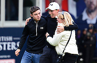 Matthew Fitzpatrick of England celebrates on the 18th green with Brother Alex and Mother Susan following his victory during Round 4 of the 2015 British Masters at the Marquess Course, Woburn, in Bedfordshire, England on 11/10/15.<br /> Picture: Richard Martin-Roberts | Golffile