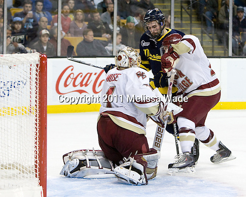 John Muse (BC - 1), Jesse Todd (Merrimack - 16), Patch Alber (BC - 27) - The Boston College Eagles defeated the Merrimack College Warriors 5-3 to win the Hockey East championship for the tenth time on Saturday, March 19, 2011, at TD Garden in Boston, Massachusetts.