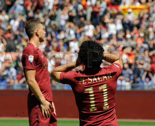 April 30th 2017, Stadio Olimpico, Rome, Italy;   Serie A football,  Roma versus SS Lazio; Edin Dzeko and Mohamed Salah cannot believe the descision