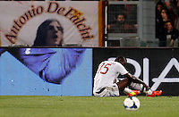 Calcio, Serie A: Roma vs Milan. Roma, stadio Olimpico, 25 aprile 2014.<br /> AC Milan forward Mario Balotelli reacts during the Italian Serie A football match between AS Roma and AC Milan at Rome's Olympic stadium, 25 April 2014.<br /> UPDATE IMAGES PRESS/Riccardo De Luca