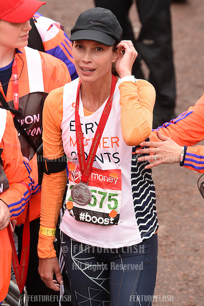 Christy Turlington-Burns finishes the 2015 London Marathon, The Mall, London 26/04/2015 Picture by: Steve Vas / Featureflash
