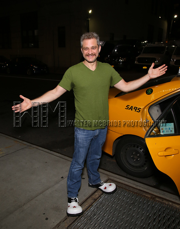 Jeff Marx taking the 'Avenue Q' - 15th Anniversary Performance Taxi Cab at New World Stages on July 31, 2018 in New York City.
