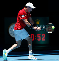 8th January 2020; RAC Arena, Perth, Western Australia; ATP Cup Australia, Perth, Day 6; Spain versus Japan; Roberto Bautista Agut of Spain plays a backhand shot from the baseline against Go Soeda of Japan - Editorial Use