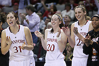 10 March 2008: Stanford Cardinal (L-R) Morgan Clyburn, Hannah Donaghe, Ashley Cimino, and Melanie Murphy during Stanford's 56-35 win against the California Golden Bears in the 2008 State Farm Pac-10 Women's Basketball championship game at HP Pavilion in San Jose, CA.