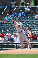 Durham Bulls first baseman Casey Gillaspie (31) stretches for a throw during a game against the Rochester Red Wings on July 20, 2016 at Frontier Field in Rochester, New York.  Rochester defeated Durham 6-2.  (Mike Janes/Four Seam Images)