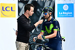 Alejandro Valverde (ESP) Movistar Team at sign on before the start of Stage 6 of the Criterium du Dauphine 2017, running 147.5km from Parc des Oiseaux - Villars-les-Dombes to La Motte-Servolex, France. 9th June 2017. <br /> Picture: ASO/A.Broadway | Cyclefile<br /> <br /> <br /> All photos usage must carry mandatory copyright credit (&copy; Cyclefile | ASO/A.Broadway)