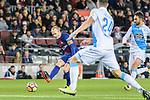 Andres Iniesta of FC Barcelona (L) looks to bring the ball down during the La Liga 2017-18 match between FC Barcelona and Deportivo La Coruna at Camp Nou Stadium on 17 December 2017 in Barcelona, Spain. Photo by Vicens Gimenez / Power Sport Images