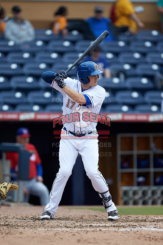 Jason Coats (17) of the Durham Bulls at bat against the Buffalo Bison at Durham Bulls Athletic Park on April 25, 2018 in Allentown, Pennsylvania.  The Bison defeated the Bulls 5-2.  (Brian Westerholt/Four Seam Images)