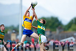 Fiáchra Clifford Kerry in action against Keith White Clare in the Munster Minor Football Final at Fitzgerald Stadium on Sunday.