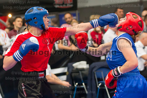 Gold medalist Katrine Pedersen (L) of Denmark and silver medalist Vittoria Pollone (R) of Italy fight in the 3 KL 043 S F -70 kg final at the WAKO (World Association of Kickboxing Organizations) World Kick-boxing Championships in Budapest, Hungary on Nov. 10, 2017. ATTILA VOLGYI