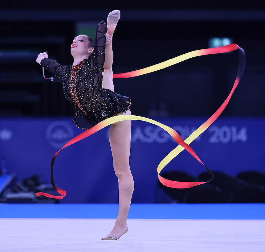 New Zealand's Kelly Macdonald competes in rhythmic gymnastics team final and individual qualification subdivision 2<br /> <br /> Photographer Chris Vaughan/CameraSport<br /> <br /> 20th Commonwealth Games - Day 1 - Thursday 24th July 2014 - Rhythmic Gymnastics - The SSE Hydro - Glasgow - UK<br /> <br /> &copy; CameraSport - 43 Linden Ave. Countesthorpe. Leicester. England. LE8 5PG - Tel: +44 (0) 116 277 4147 - admin@camerasport.com - www.camerasport.com