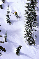 Exteme skier Marie-Claude Larivee (MC) at Valhalla Powdercats, Valhalla Mountains, BC