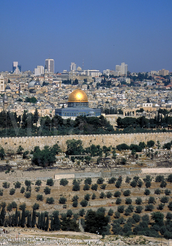 The city of Jerusalem, Israel, seen from the Mount of Olives, a hillside and cemetery where many Jews are buried and where Jesus spent his last evening before his arrest. The gold dome in this photo is the Dome of the Rock, the most important mosque of th