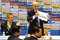 Fina President Julio C. Maglione shows the board with the name of the hosting city of 2021 World championships, Budapest <br /> Press conference to decide host cities for World Championships 2019 / 2021 <br /> Barcellona 19/7/2013 <br /> Barcelona 2013 15 Fina World Championships Aquatics <br /> Foto Andrea Staccioli Insidefoto