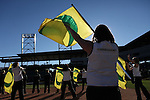 010213--Members of the Oregon Marching Band's flag team perform during the Ducks pep rally at Salt River Fields in  Scottsdale, Arizona. .Photo by Jaime Valdez