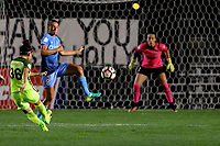 Piscataway, NJ - Saturday August 19, 2017: Nahomi Kawasumi, Erica Skroski, Kailen Sheridan during a regular season National Women's Soccer League (NWSL) match between Sky Blue FC and the Seattle Reign FC at Yurcak Field.
