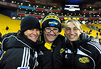 Launch event managers Janine Huxford (left) and Mel Winter (right) with event mc Greg Ellis after the Super Rugby match between the Hurricanes and Crusaders at Westpac Stadium in Wellington, New Zealand on Saturday, 15 July 2017. Photo: Dave Lintott / lintottphoto.co.nz
