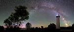 Au Sable Light Station, Milky Way, Aurora, Airglow, pano