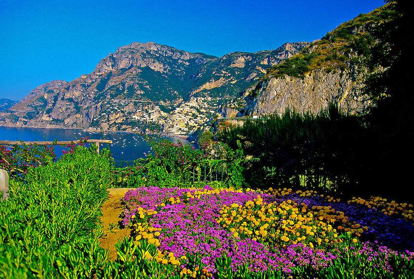 View from Hotel San Pietro, outside Positano, Amalfi Coast, Italy
