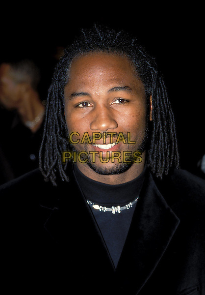 LENNOX LEWIS..Ref: 7827..dreadlocks, braids, goatee, beard, smiling, silver chain..sales@capitalictures.com..www.capitalpictures.com