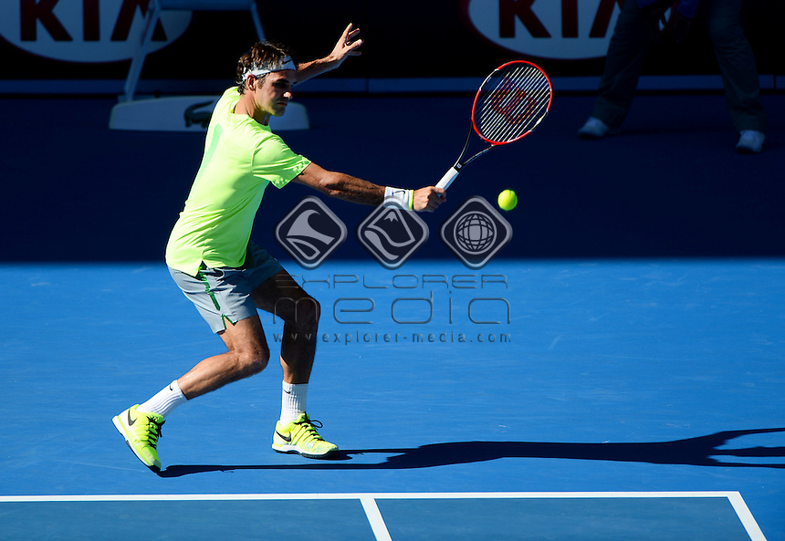 Roger Federer (SUI) during his 2nd round match<br /> 2015 Australian Open Tennis / Day 3<br /> Grand Slam of Asia Pacific<br /> Melbourne Park, Vic Australia<br /> Wednesday 21 January 2015<br /> &copy; Sport the library / Jeff Crow