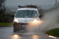 Friday 31 January 2014<br /> Pictured: A van drives through a flooded Penblewin Roundabout near Nartbeth, West Wales<br /> Re: Severe weather warnings are issued accross Wales and England