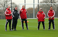 Pictured (L-R): Ian Mitchell, Huw Lake, Kristian O'Leary Monday 04 November 2015<br /> Re: Swansea City FC training at the club's Fairwood Training Ground in the outskirts of Swansea, south Wales, UK.