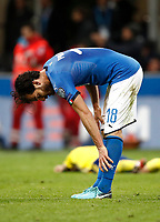 Soccer Football - 2018 World Cup Qualifications - Europe - Italy vs Sweden - San Siro, Milan, Italy - November 13, 2017 <br /> Italy's Marco Parolo looks dejected at the end of the FIFA World Cup 2018 qualification football match between Italy and Sweden at the San Siro stadium in Milan, on November 13, 2017. <br /> Italy failed to reach the World Cup for the first time since 1958.<br /> UPDATE IMAGES PRESS/Isabella Bonotto