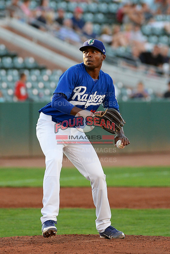 Luis De Paula (13) of the Ogden Raptors delivers a pitch to the plate against the Great Falls Voyagers at Lindquist Field on August 13, 2013 in Ogden Utah. (Stephen Smith/Four Seam Images)
