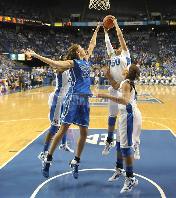 University of Kentucky player  Azia Bishop grabs a rebound during the first half of the University of Kentucky Women's Basketball game against Duke at Rupp Arena in Lexington, Ky., on 12/8/11. Uk trailed the game at half  31-34. Photo by Mike Weaver | Staff