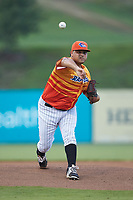Los Rapidos de Kannapolis starting pitcher Jhoan Quijada (28) delivers a pitch to the plate against the West Virginia Power at Kannapolis Intimidators Stadium on July 25, 2018 in Kannapolis, North Carolina. The Los Rapidos defeated the Power 8-7 in game two of a double-header. (Brian Westerholt/Four Seam Images)