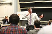 Virginia Senator Mark Warner visited the Darden School of Business. Photo/Andrew Shurtleff