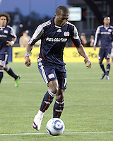 New England Revolution midfielder Sainey Nyassi (14) dribbles the ball.  The Colorado Rapids defeated the New England Revolution, 2-1, at Gillette Stadium on April 24.2010