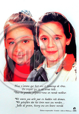 MONS-LES-LIEGE - BELGIUM - 18 OCTOBER 1996--A card made in menory of the two girls Julie and Melissa the victims of the Dutroux pedofile-gang. --PHOTO: EUP-IMAGES..