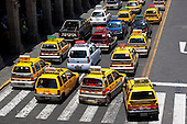 Traffic jam with taxis in Arequipa, Peru