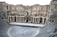 Main stage and auditorium, Roman theatre with 12,000 seats, 102m wide, 150-200 AD, Bosra, Syria Picture by Manuel Cohen