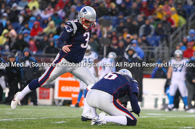 13December2009: New England Patriot place kicker Stephen Gostkowski #3 kicks a 48-yard field goal.  The New England Patriots defeated the Carolina Panthers 20-10 at Gillette Stadium in Foxborough, Massachusetts.