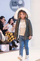Model poses <br /> Trybeyond by Mauli's fashion show during the FIMI, International Kids Fashion Fair, at Palacio de Cristal of the Casa de Campo in Madrid on January 19, 2018.