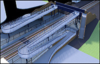 BNPS.co.uk (01202 558833)<br /> Pic: NetworkRail/BNPS<br /> <br /> The proposed plans for the new bridge.<br /> <br /> Actor Edward Fox has branded an 'unsightly' rail crossing planned for his home town as a bridge too far.<br /> <br /> Mr Fox, 80, used his theatrical skills to stand up in front of 250 people at a public meeting to voice his objection at the new ramped bridge for Wareham train station in Dorset.<br /> <br /> The star of the classic World War Two film A Bridge Too Far (1977) believes the 19ft high structure would be a blot on the landscape of the smart market town.<br /> <br /> The Grade II listed railway station is currently served by a level crossing which is controlled by locked gates and a security guard.<br /> <br /> But Network Rail claims the existing crossing is a health and safety risk to the public.